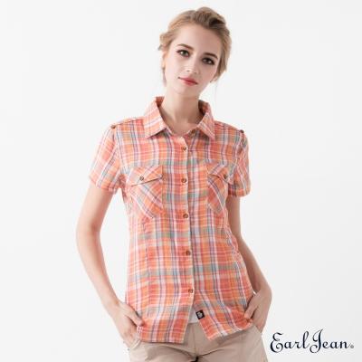 Earl Jean 彩色格紋短袖襯衫-橘-女