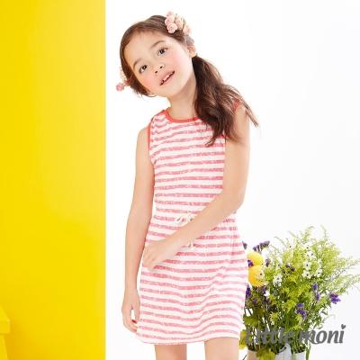 Little moni 夏日斑駁感條紋無袖洋裝 淺珊瑚