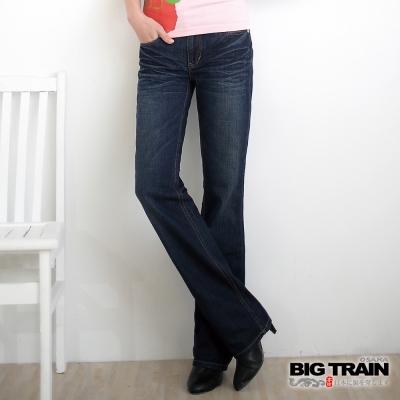 BIG TRAIN 櫻花配布直筒褲-女-中藍