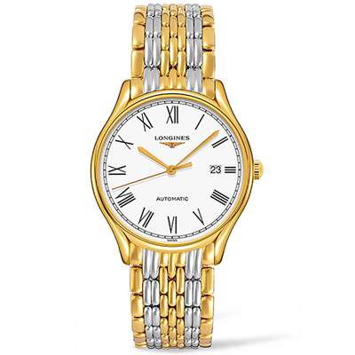 LONGINES浪琴 律雅系列紳士時尚腕錶-銀色+金色/38mm