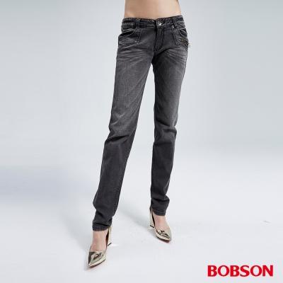 BOBSON 女款雪俏黑色小直筒褲