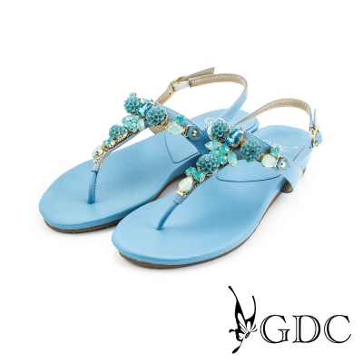 GDC-可愛小花水鑽造型真皮楔型厚底T字涼拖鞋-藍色
