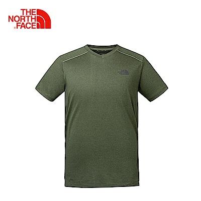 The North Face北面男款綠色吸濕排汗戶外運動短T恤
