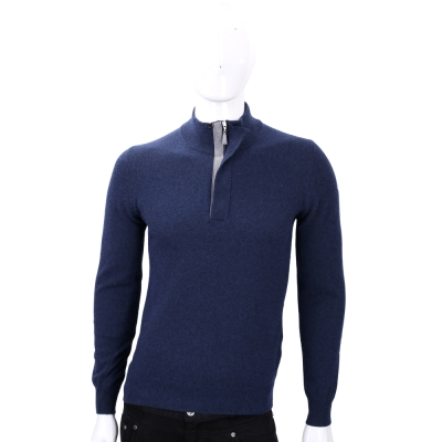FRADI 深藍色半拉鍊設計羊毛長袖上衣