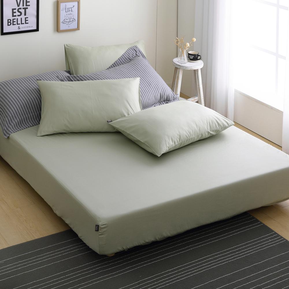 DON極簡生活-森林綠 單人二件式200織精梳純棉床包枕套組