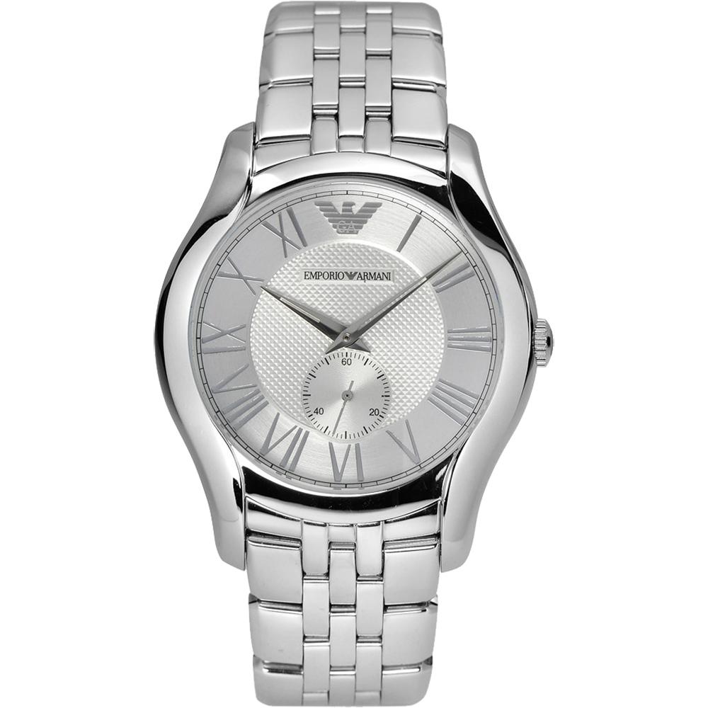 ARMANI Classic 羅馬時尚小秒針腕錶-銀/43mm