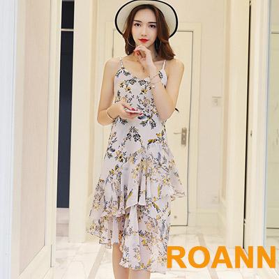 小V領雙層荷葉邊魚尾吊帶洋裝 (共二色)-ROANN