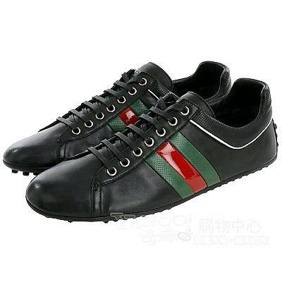 GUCCI 綠紅綠綴飾綁帶休閒鞋(黑色)