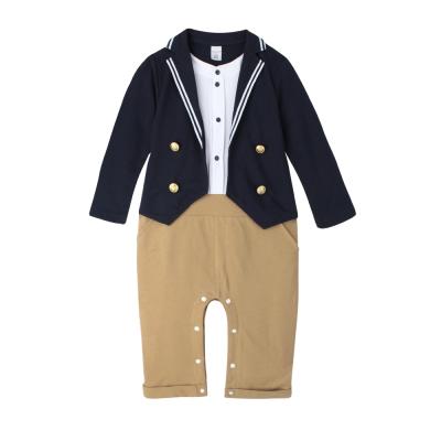 baby童衣 連身衣 假三件長袖西裝外套爬服 60307