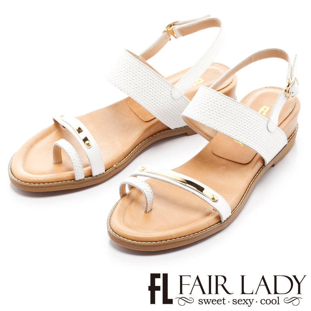 Fair Lady 簡約線條感設計穿趾增高涼鞋 白