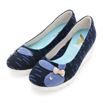 PLAYBOY 溫柔時光 GOPLAY線條厚底娃娃鞋-藍