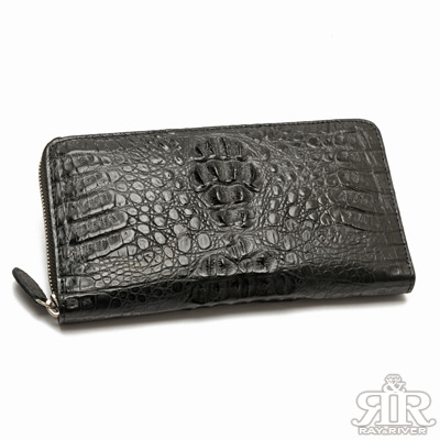 2R-珍稀鱷魚皮-限量訂製拉鍊護照長夾-奢華黑