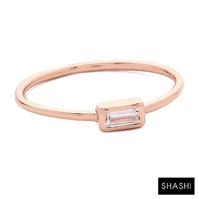 SHASHI 紐約品牌 Baguette 方形單鑽戒指 925純銀鑲18K玫瑰金