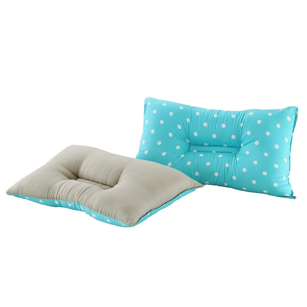 精靈工廠 3M吸濕排汗專利雙色點點人體工學止鼾枕-藍點+淺灰