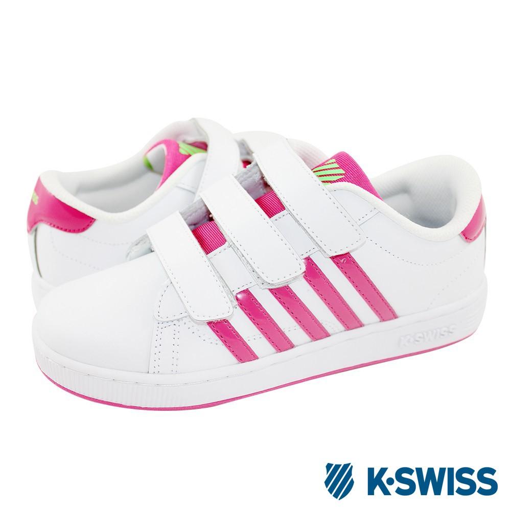 K-Swiss Hoke TT 3-Strap經典休閒鞋-童-白/桃紅