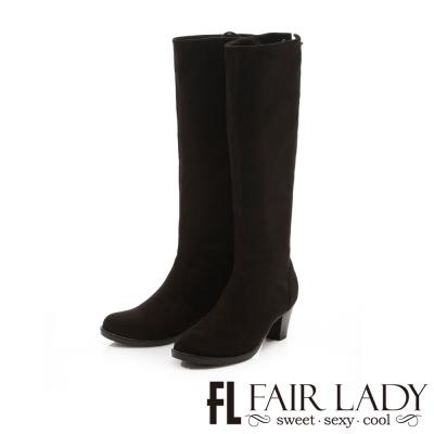 Fair Lady 異國風情後綁帶拼鑽2way粗跟靴 黑