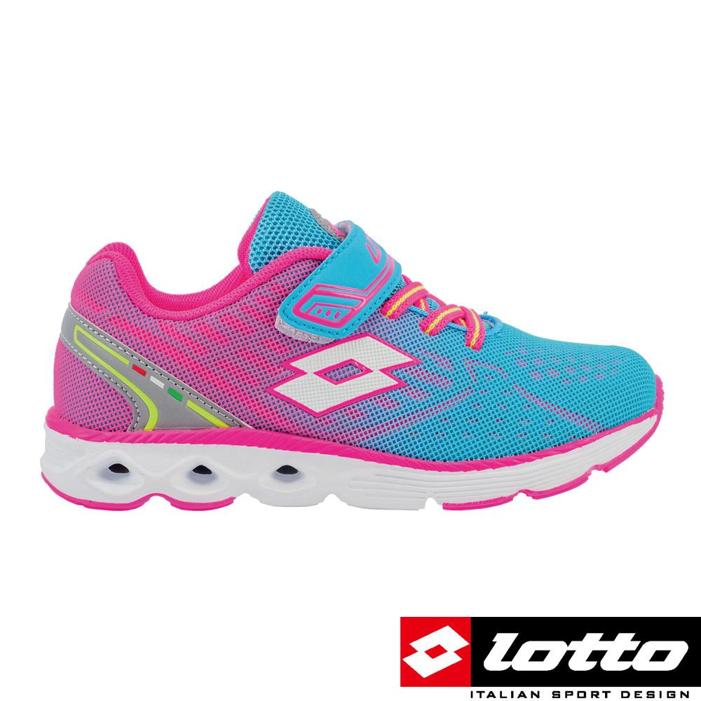 LOTTO義大利女中童4D風動跑鞋水藍粉漸層
