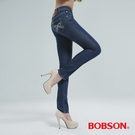 BOBSON 木醣醇伸縮小直筒褲  (深藍)