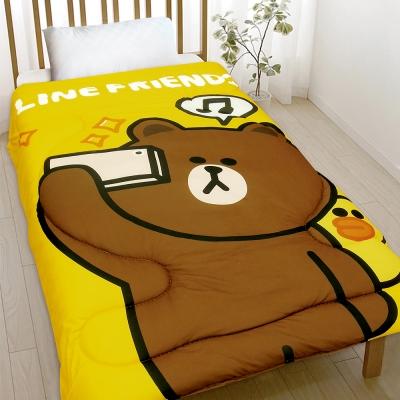 精靈工廠 厚感搖粒絨暖暖被 毯被5*6.5呎 熊大愛自拍 黃