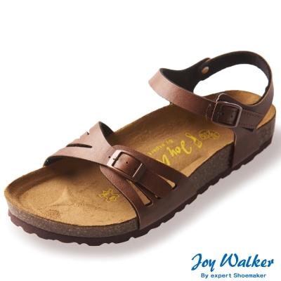 Joy Walker 繽紛色彩一片式平底涼鞋*咖啡色