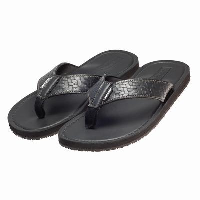 LocKen 獨特設計編織紋人字夾腳拖涼鞋(黑色)