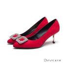 達芙妮DAPHNE 高跟鞋-水鑽方釦絨面中跟尖頭鞋-紅