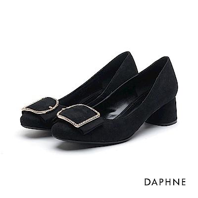 達芙妮DAPHNE 高跟鞋-水鑽方釦寬帶絨面高跟鞋-黑