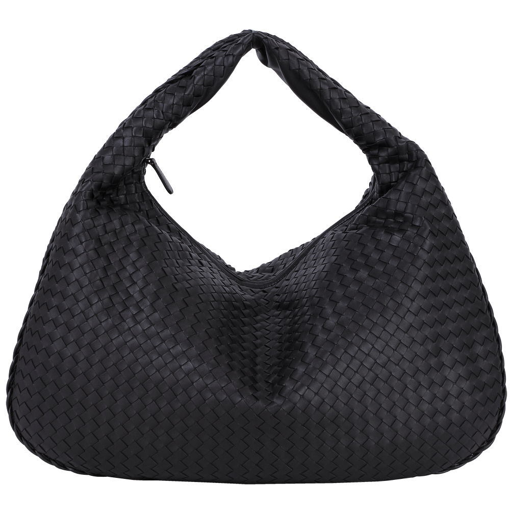 BOTTEGA VENETA Intrecciato Maxi 小羊皮編織肩背包(大/黑)