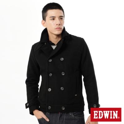 EDWIN-毛呢雙排釦大衣外套-男-黑色