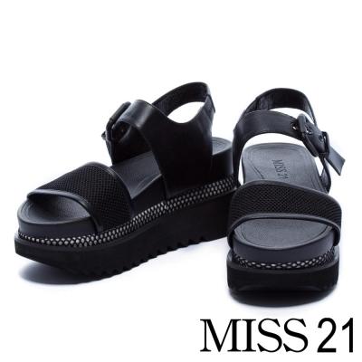 涼鞋 MISS 21 運動個性風牛皮拼接網布厚底涼鞋-黑