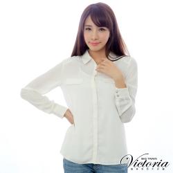 Victoria 肩檔蕾絲雪紡長袖襯衫-女-米白