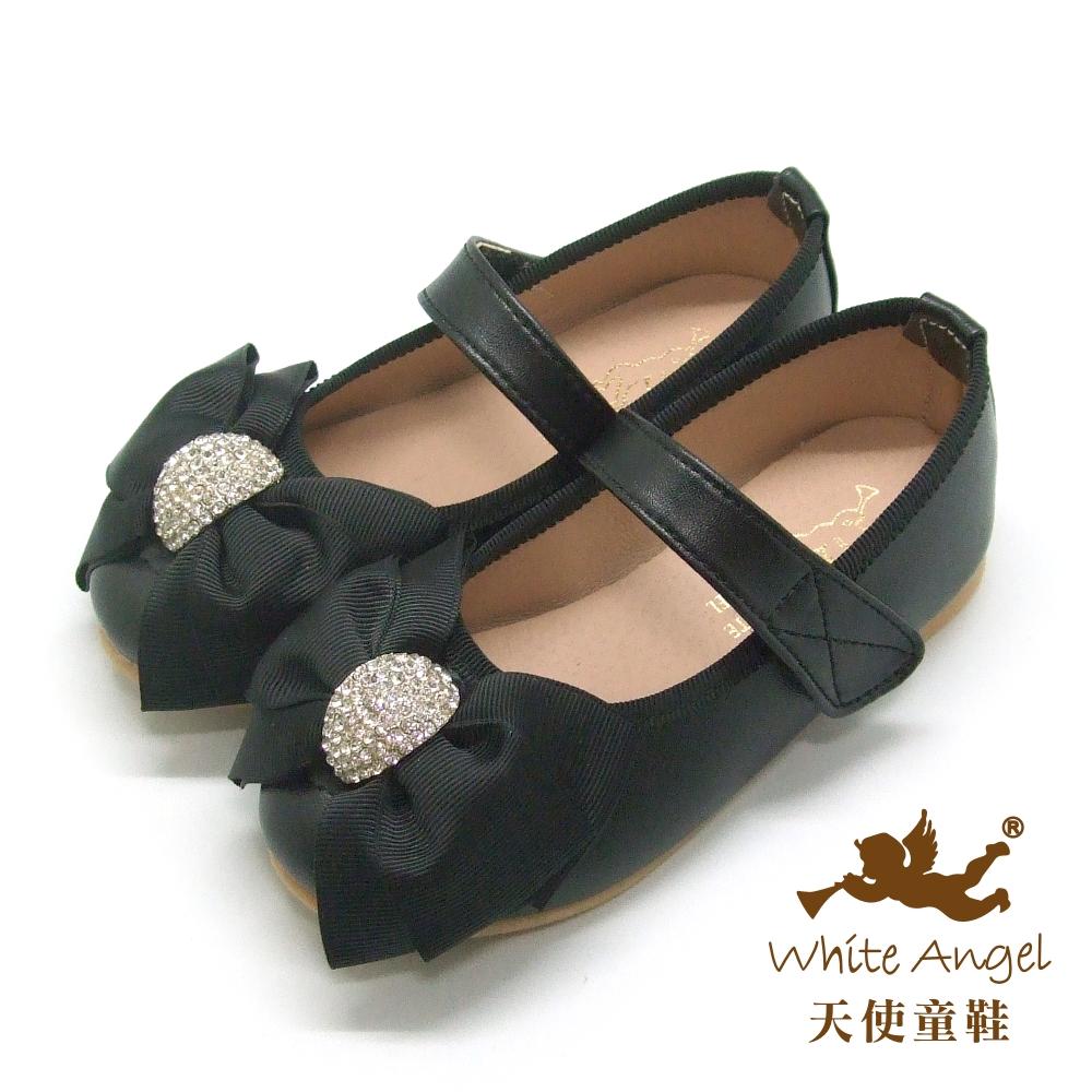 天使童鞋-J818 優雅水鑽大蝴蝶結公主鞋-黑