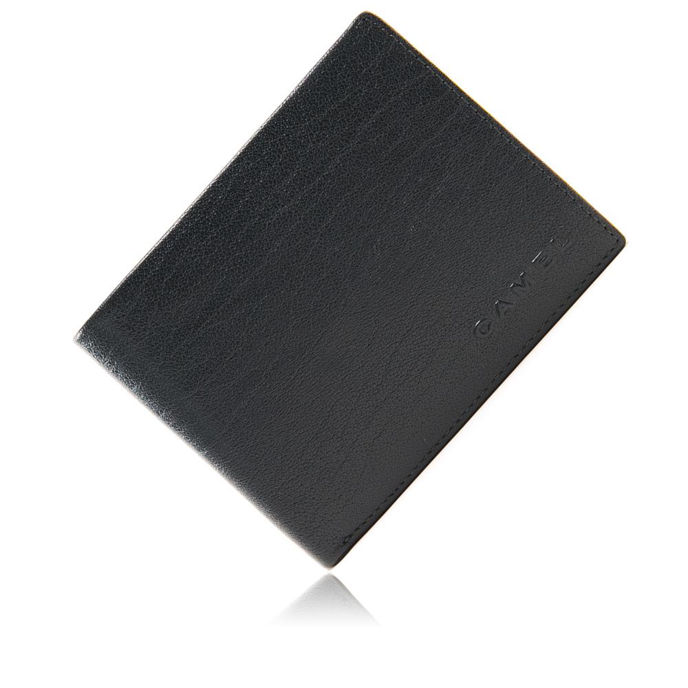 CAMEL - 沉穩內斂系真皮款10卡2照可拆式左右翻短夾-低調藍