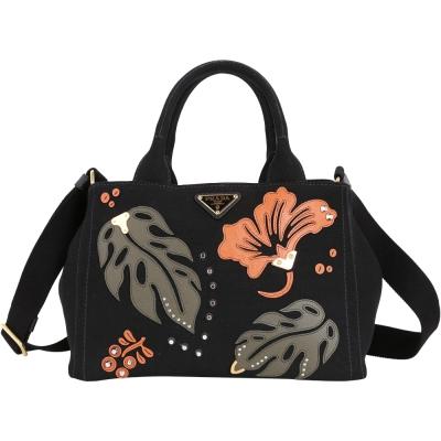 PRADA Canapa 皮革拼貼花卉兩用帆布提包(小/黑)