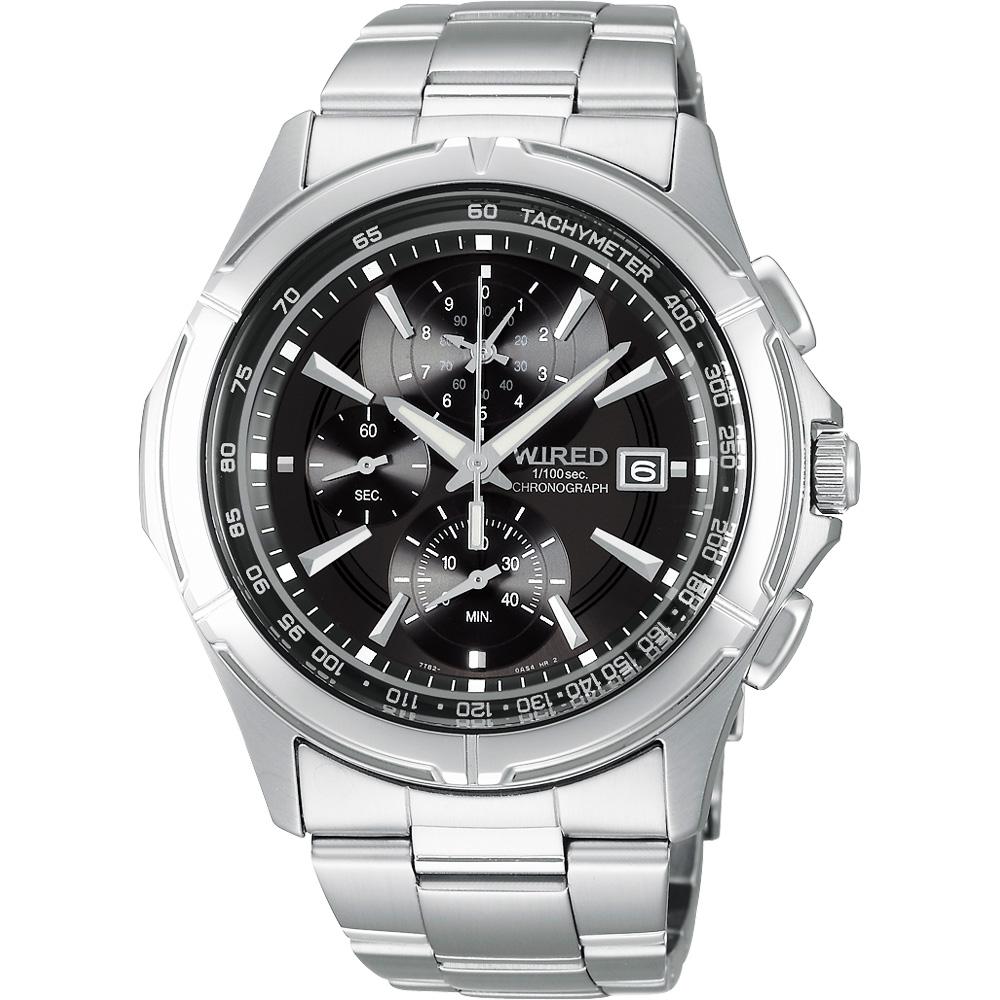 WIRED 極限玩家三眼計時腕錶(AQ8007X1)-黑/40mm
