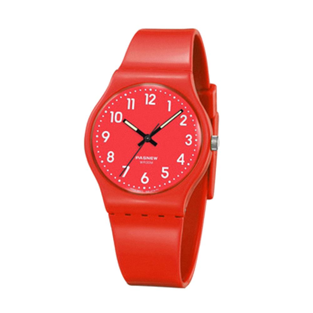 PASNEW 輕巧炫彩指針腕錶-動感紅/34mm