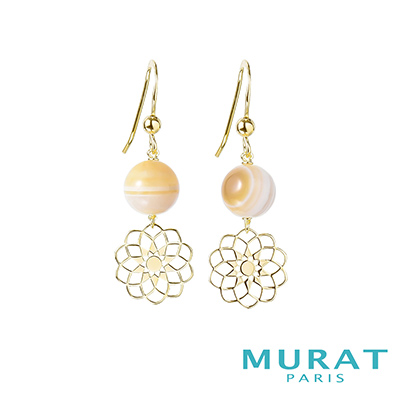 MURAT Paris米哈巴黎 天然瑪瑙花朵垂吊耳環(金色款)