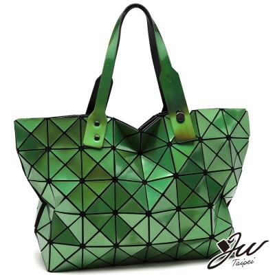 JW魔幻雷射炫彩幾何拼貼托特包-共4色-極光綠