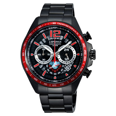 J.SPRINGS系列  威廉古堡三眼計時時尚腕錶-黑紅X黑/45mm