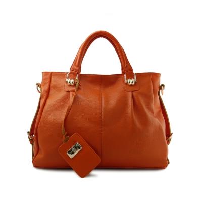 Dennibella 丹妮貝拉-真皮蛇鍊造型斜背手提包-繽紛橘