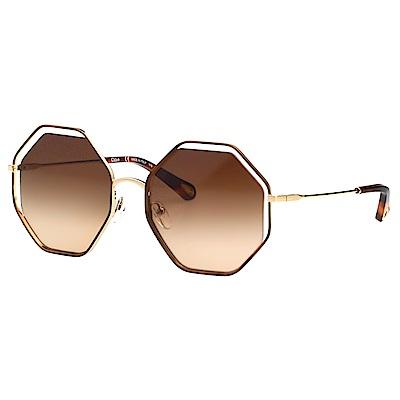 CHLOE 立體層次金屬大框 太陽眼鏡 (琥珀+金色) CE132S
