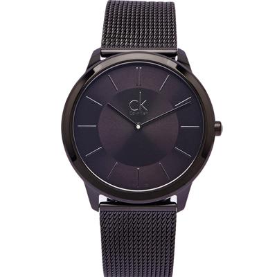 CK Calvin Klein 黑色的米蘭帶手錶(K3M214B1)-黑面X黑色/39mm