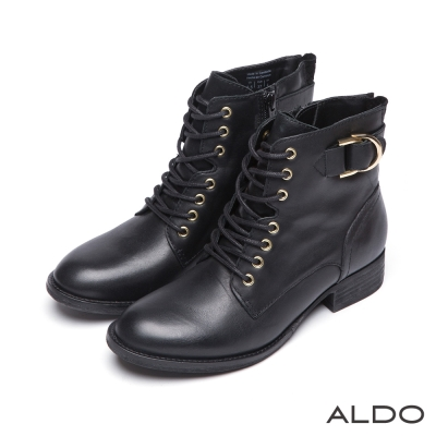 ALDO-真皮交叉編織金屬釦帶木紋粗跟短靴-尊爵黑色