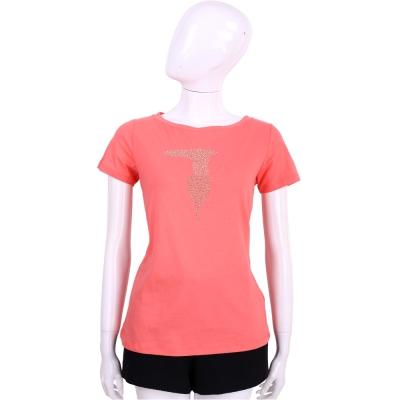 TRUSSARDI 粉橘色品牌LOGO貼飾棉質短袖T恤