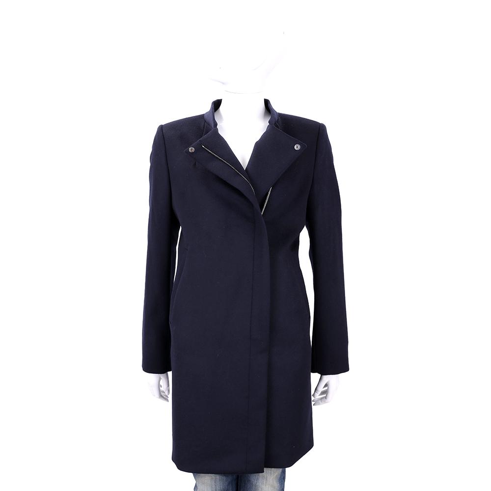 Max Mara 深藍色羊毛長版大衣(100%LANA VERGINE)