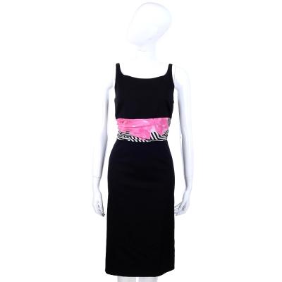 MOSCHINO 印花拼接設計U領洋裝(黑色)
