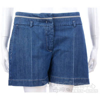 SCERVINO 藍色車線滾邊牛仔短褲