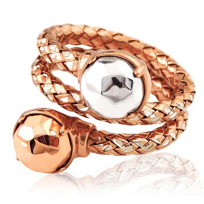 MONT BLANC 萬寶龍 玫瑰金色編織雙圈造型純銀戒指-52號
