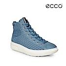 ECCO SOFT 3 亮彩針織中筒增高休閒鞋-天藍