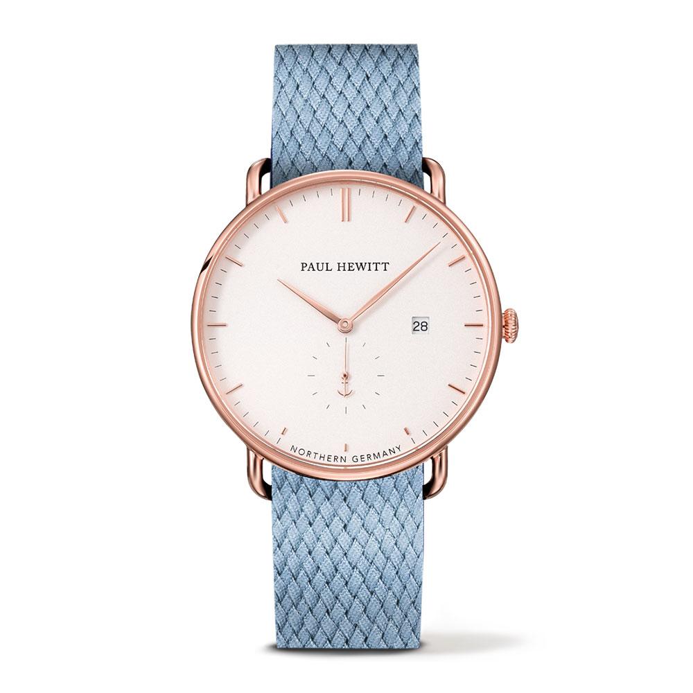 福利品-PAUL HEWITT Atlantic Line尼加拉藍尼龍錶帶白x玫瑰金手錶-42mm